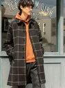 [Rakuten Fashion]ワイドフィットブリティッシュチェックステンカラーコート coen コーエン コート/ジャケット ステンカラーコート ブラック ブラウン【送料無料】
