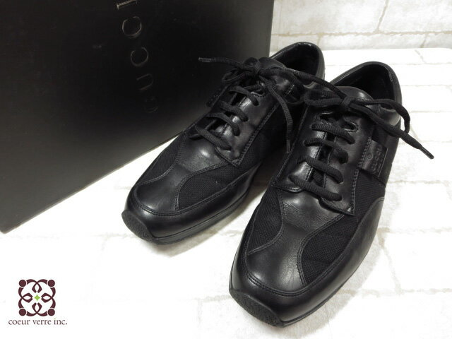極美品 【グッチ GUCCI】 高級レザースニーカー (メンズ) 黒 size39E 紳士靴 革靴   ◯MZ2787◯ 【中古】