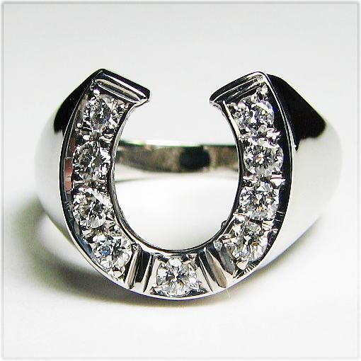 ダイヤモンドの馬蹄リング  K18WG メンズサイズ 幸運を呼び込む馬蹄のリングWG