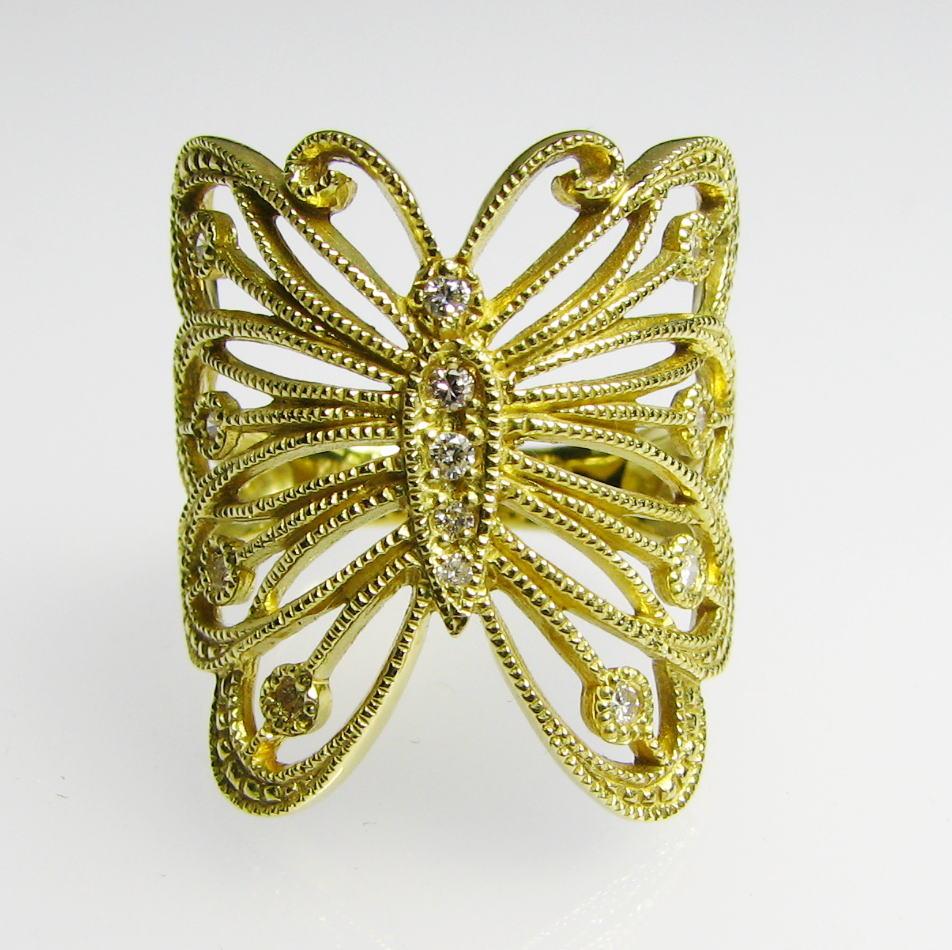 蝶々の豪華なダイヤモンドリング K18YG・PG・WG 大振り 送料無料 品質保証書付 ダイナミックなバタフライ♪