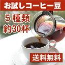コーヒー豆 お試し福袋 5種類のコーヒー豆【初回限定価格・送料無料】ブラジル、モカ、グアテマラ他