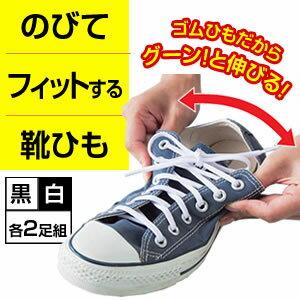 のびてフィットする靴ヒモ 結ばなくてもよい靴ひも 2足セット(4本)【送料無料メール便】