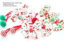 楽天collabo collection【両端】2本セットヘアゴム◎25mmダブルリボンクリスマス柄◎丸くるみボタン付きデザイン子供 キッズ ヘアゴム ヘアアクセサリー 髪留め 髪飾り 可愛い パーツ 幼稚園 保育園 デイリー