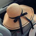 帽子 レディース女優帽 麦わらリボン ス...