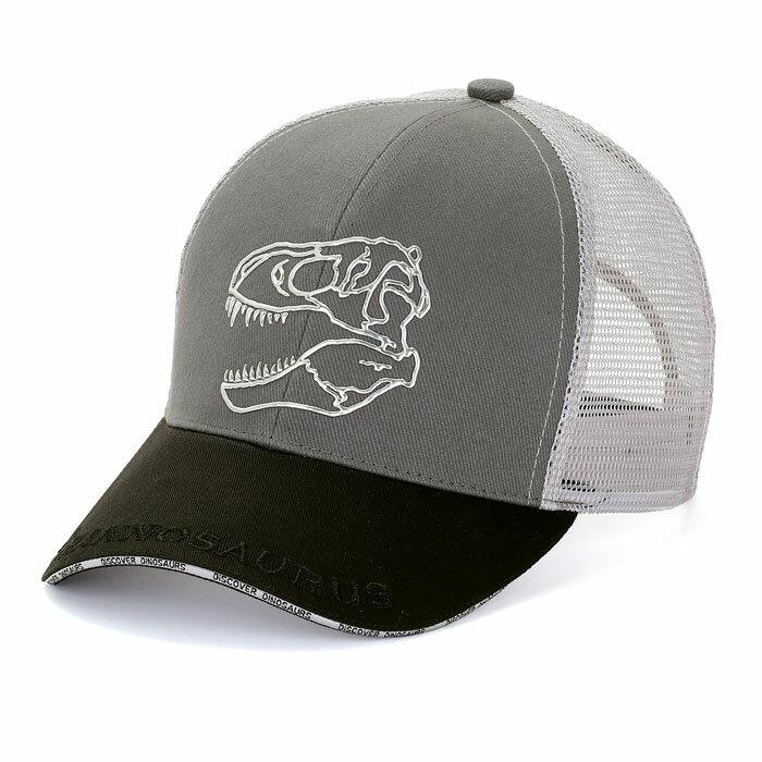 恐竜メッシュキャップティラノサウルススカルグレー&ブラックスポーツグッズアウトドアグッズフェスグッズ