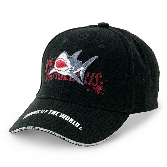 サメスポーツキャップ危険ザメブラックスポーツグッズアウトドアグッズフェスグッズサメグッズ動物生物魚類