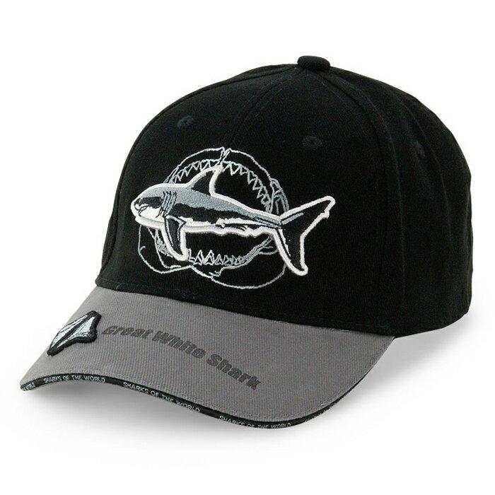 サメスポーツキャップホホジロザメ&顎の骨ブラック&グレースポーツグッズアウトドアグッズフェスグッズサ