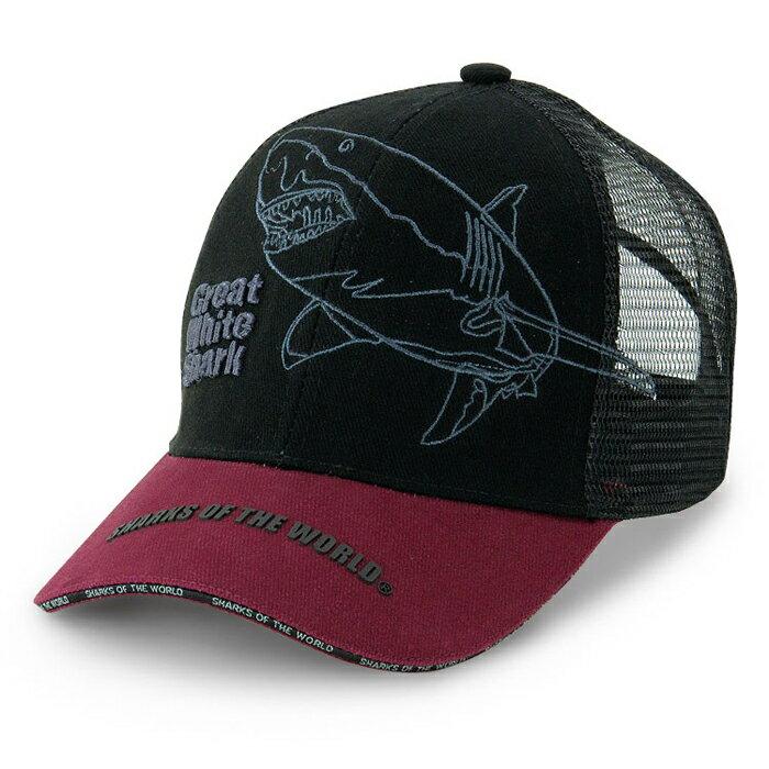 サメメッシュキャップホホジロザメブラック&ダークレッドスポーツグッズアウトドアグッズフェスグッズサメ