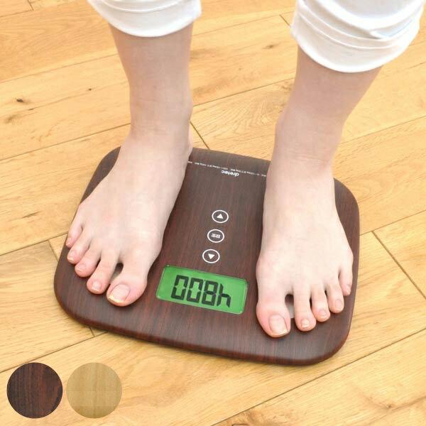 体重体組成計体重計体組成計木目調デジタル表示(ヘルスメーター計測器健康管理体脂肪計軽量コンパクトスリ