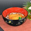 麺どんぶり 黒 夢うさぎ 食洗機対応 プラスチック製 ( 和食器 麺どんぶり お碗