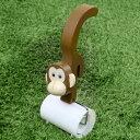 粘着クリーナー サル ミニ 猿 粘着ローラー 木製 カーペットローラー テープカバー付き ( 粘着シート カーぺットクリーナー 粘着テープ ...