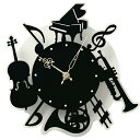 壁掛け時計 時計 楽器 ( 壁掛け ウォールクロック 電池式 モノトーン 音楽 音符 プレゼント ギ...