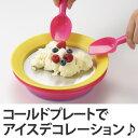皿 マジックコールドプレート スプーン付き 専用保冷剤付き ( お菓子作り アイスクリーム作り コールドプレート 食器 キッチン用品 製菓道具 冷たいお皿 プレート クッキングトイ ) 【3900円以上送料無料】