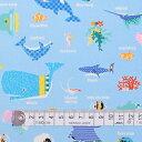 楽天Colorful Textile Market商用利用可 生地 マリン柄 さかな 入園 入学 スカイ 男の子 海洋生物の楽園(ライトブルー) オックス生地 ネコポス対応