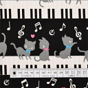 猫柄 生地 ピアノ 入園 入学 ブラック 女の子 ピアノの上で踊る黒猫ワルツ(ブラック) オックス生地
