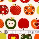 ラミネート 生地 りんご柄 アイボリー おしゃれリンゴのひみつ(アイボリー) ラミネート(厚み0.2mm)生地