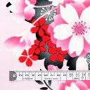 商用利用可 生地 ゆかた用 生地 和柄 浴衣 ピンク 大輪桃桜 ピンク ブロード生地 ネコポス対応