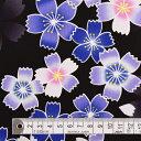 商用利用可 生地 ゆかた用 生地 和柄 浴衣 ブラック 桜・青 ブロード生地 ネコポス対応