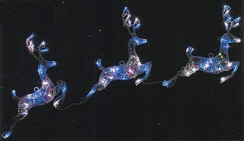 ★クリスマスイルミネーション★仲良し三匹 LEDホログラム3連トナカイ