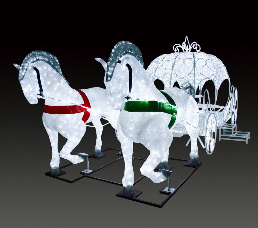 ★クリスマスイルミネーション★ LEDクリスタルグロー プリンセスの馬車  なんと馬車内部にテーブル、椅子付き!! オシャレな時間が過ごせます!