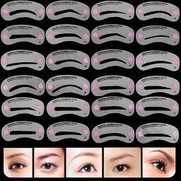 ゆうメール 送料無料 24種類 眉毛テンプレート24枚セット 太眉対応 24パターン 眉毛を気分で使い分け 眉用ステンシル