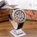 【ゆうメール送料無料】(ブラック )グルグル時計 文字盤が回る くるくる時計 ぐるぐる時計 (ゴールドフェイス)