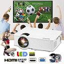 【中古】ミニLCD / LEDホームプロジェクター5000ルーメンHD 1080 PシネマシアターPCラップトップVGA HDMI