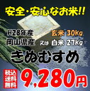 ★送料無料★H28年産 岡山県産 きぬむすめ玄米30kg or 白米 27kg