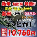 ★送料無料★ 新米 H29年産 岡山県産 キヌヒカリ 玄米 30kg or 白米 27kg