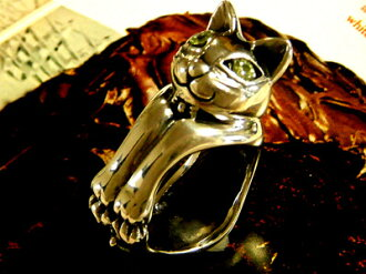 ■ cats like absolute Hummel ■ ファニーキャットリング Neko — Mon ネコモン ネコグッズ cat's ペリドッド power stone ring cat ring silver cat Cafe accessories animal animal