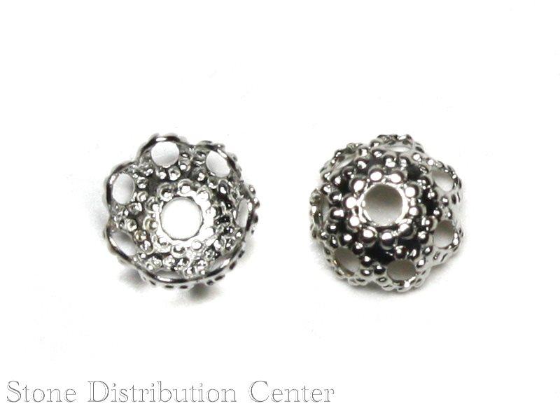 【パーツ】ビーズキャップ 花型タイプ1(銀色) 4mm (10個入り) 【パワーストーン 天然石 アクセサリー】