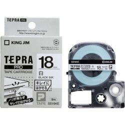キングジム テプラPROテープカートリッジ キレイにはがせるラベル 白 黒文字18mm(SS18KE) 目安在庫=○