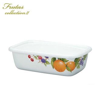 Frutas 集合搪瓷储存容器 1。 0 l 厨房用品漆包线小工具厨房小工具圆漆包线的包搪瓷容器搪瓷容器保存容器密封容器小公牛特百惠船队水果图案