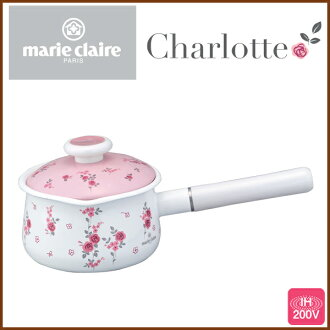 Marie Claire Charlotte 15 cm ( 1. 2 L ) milk enameled pan with lid ◆ IH support / kitchen goods / kitchen supplies / hand pot / lid / enameled pot and enameled pot / pink / rose pattern / floral / 5P13oct13_b