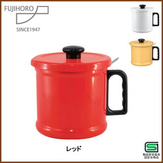 Enameled oil pot 1. 5 L red (activated carbon cartridge with) ◆ oil / enamel / porcelain enamel strainer 5P13oct13_b / instruments / filtration / red / kitchen gadgets and enameled goods [20% off]