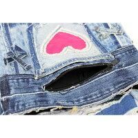 デニムハンドバッグリメイクジーンズハンドメイドターコイズカラーかばん鞄カバン送料無料