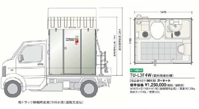 【最安値挑戦中!最大34倍】仮設トイレ ハマネツ TU-L3F4C TU-Lシリーズ ポンプ式簡易水洗タイプ (兼用和式+手洗い) 車載トイレ[♪■※送料別途見積]