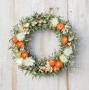 草原で見つけた妖精の花冠♪Coquelicot Orange☆柔らかオレンジ色のリース ナチュラルなグリーンとオレンジのドライフラワーリース、大人カワイイ、シンプルリース。【楽ギフ...