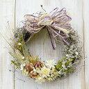 ドライフラワーリース【ナチュラルカントリー】麦と白い花のナチュラル ドライフラワー リース