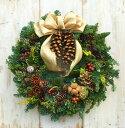 【クリスマスリース】【リース】【クリスマス】【玄関】フレッシュオレゴンモミのクリスマスリース☆直径35cm