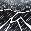 気音間 注染手ぬぐい 神鳴【メール便可】手拭い/てぬぐい/稲妻/雷/雷神/雷様/大雨/黒/蛙/【10P01Oct16】
