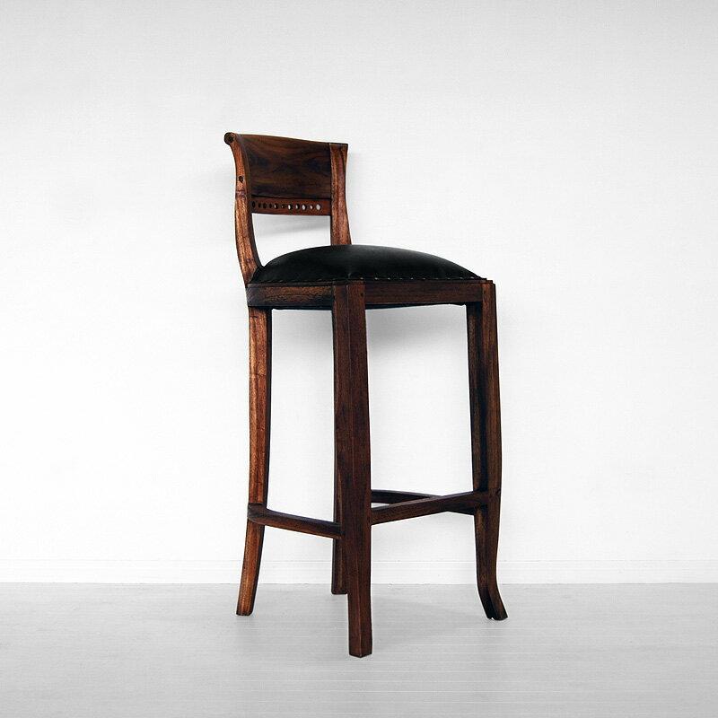 送料無料!!チーク【イタリー】バースツール アジアン家具 アンティーク 木製  チェア 椅子 いす カウンターチェア バーチェア アンティーク調 バリ レザー