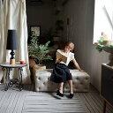送料無料【ネイジュ】オットマン 足置き ベンチ ダイニングベンチ 木製 椅子 チェア ソファ スツール ダイニングベンチ 長椅子 長イス ベンチチェア アンティーク アンティーク調 ボタン締め ホワイト 四角