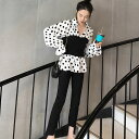 ウエスト切り替え 白黒水玉チュニック M 白/黒 ブラウス シャツ トップス 韓国ファッション 中国ファッション 海外 インポート カジュアル きれいめ アパレル 可愛い ギャル セレクト スタイル