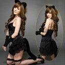 コスプレ 黒猫 キャットレディ ブラックキャット アニマルガール 猫耳カチューシャ セクシー コスチューム 衣装 仮装 レディース 大人用
