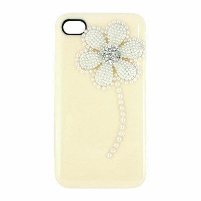 iPhone4 デコケース・パールフラワー クリーム