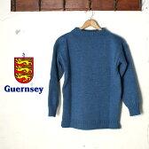 イギリス製【Guernsey Woolens】ガンジーウーレンズguernsey sweater ガンジーセーターTeal blue(ティールブルー)