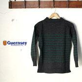 イギリス製【Guernsey Woolens】ガンジーウーレンズguernsey sweater ガンジーセーターCHACOAL×GREEN(チャコール×グリーン)