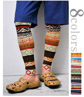 HealthNet Jacquard leggings ( spats ) ethnic pattern of geometric size 1 L 6 colors [△