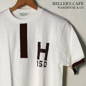 ★20%OFF♪クリアランスSALE!【HELLER'S CAFE by WARE HOUSE】ヘラーズカフェ by ウエアハウスH150 TEEH150 Tシャツホワイト×バーガンディ[ゆうパケット対応] mc0p1